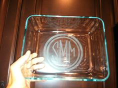 Pyrex glass etching Silhouette cameo circle monogram Armour Etch
