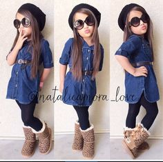 Look 54 Look de moda: Vestido Vaquero Azul Marino, Botas Ugg Marrón Claro, Gorro Negro, Medias Negras Toddler Girl Style, Toddler Girl Outfits, Toddler Fashion, Kids Fashion, Toddler Girls, Kids Outfits Girls, Little Girl Outfits, Cute Outfits For Kids, Little Girl Fashion
