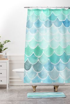 Wonder Forest Mermaid Scales Shower Curtain And Mat | DENY Designs Home Accessories