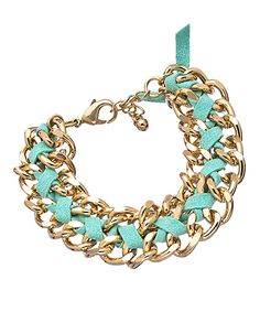 Blu Bijoux Mint Faux Suede Chain Bracelet