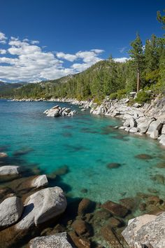 """""""Boulders at Lake Tahoe 40"""" - These boulders and emerald waters were photographed along the East shore of Lake Tahoe, just North of Sand Harbor."""