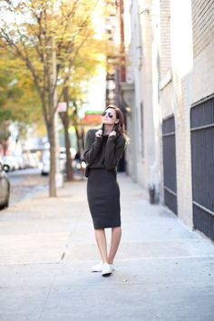 chunky knot sweater, pencil skirt and sneakers   weworewhat