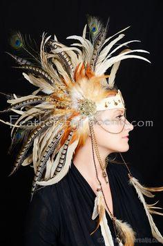Items similar to Custom Leather Headdress Feather Burning Festival Sexy Hat Vegas Steam Punk Masquerade Mardi Gras CosPlay Warrior Goddess Peacock on Etsy Fairy Makeup, Mermaid Makeup, Makeup Art, Fantasy Hair, Fantasy Makeup, Burning Festival, Steampunk, Feather Headdress, Mermaid Headpiece