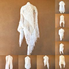 Sparkles and satin shine white wedding wrap bridal fashion for Stevie Nicks wedding by Stevie shawl designer Crickets Meyeres white shawl with fringe