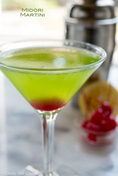 Midori Martini, an easy, delicious, and beautiful cocktail recipe.