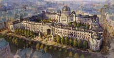 Fantasy City, Fantasy Castle, Fantasy Places, Fantasy World, Minecraft Architecture, Architecture Old, Historical Architecture, Beautiful Architecture, Fantasy Art Landscapes