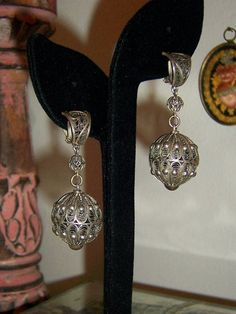 Gorgeous Vintage Silver Filigree Dangle Clip by SunsetSkyVintage, $95.00