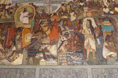 MEXICO CITY, Mexico - Diego River mural, Palacio Nacional. It's Frida Kahlo in the dress.