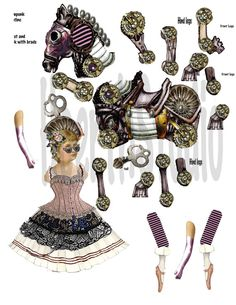 printable vintage Circus paper doll Steampunk ballerina articulated doll craft project collage sheet DIY just print and cut use brads to assemble one 8x11 sheet 300 dpi with everything you need to create the paper dolls