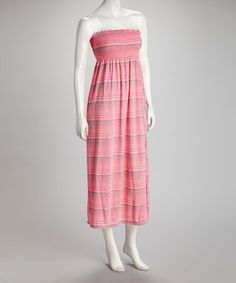 Take a look at this Pink & Gray Stripe Strapless Maxi Dress by Sassy Wahine on #zulily today! $19.99, regular 40.00
