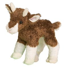 """At 6"""" tall, this little stuffed goat features super soft white and brown kohair fur and has cute little white horns. - Ages: 24 Months & Up - Washing Instructions: Machine Douglas Toys makes beautiful"""