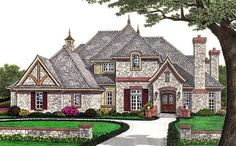 House Plan 66110   European   French Country    Plan with 4263 Sq. Ft., 5 Bedrooms, 6 Bathrooms, 3 Car Garage