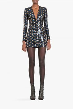 Balmain - Diamond pattern mini dress - Women's dresses - Pre-Fall Winter 2015