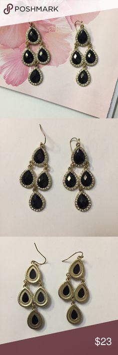 "Chandelier tear drop black stone diamond earrings Chandelier tear drop black stone diamond earrings. Like new condition. Hardly worn. About 2.5"" in length. Jewelry Earrings"