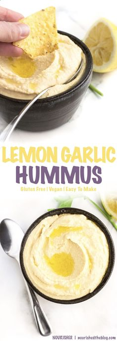Homemade Lemon Garlic Hummus | A healthy snack recipe that is simple and easy to make and loaded with tons of garlicky, lemony flavour! gluten free, vegan