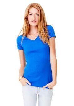 women's baby rib short sleeve v-neck tee Couleurs: Blanc, noir, royal, gris, rose, bleu poudre et rouge. Appeler votre distributeur Bella au 514-341-6272