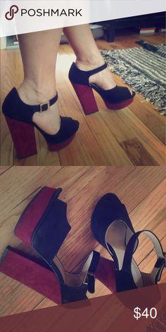 ad76e3ab5d29 Platform Zara Mary Jane heels Cute black and maroon color block heels -  actually pretty comfy
