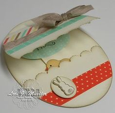 Lori's egg card: Eggstra Spectacular, Delightful Dozen, Retro Fresh dsp & washi tape, Bird Punch, Ovals framelits. All supplies from Stampin' Up!