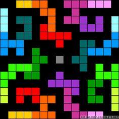 Rainbow tetris perler bead pattern