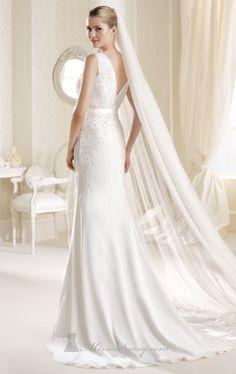 Great La Sposa Ibirite V Cross over neckline with soft chiffon slim skirt Mermaid Wedding DressesLa
