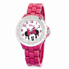 Disney Adult Size Pink Band w/ Crystal Bezel Minnie Mouse Watch