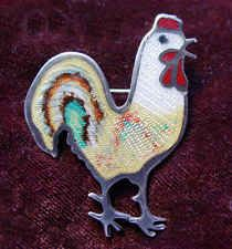 M. ARIAS STERLING enamel rooster brooch, Mexico