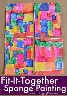 Fit-It-Together Sponge Painting. Great process art activity to explore square and rectangle shapes! Preschoolers, kindergartners, and elementary kids will work on spatial skills while making beautiful art! Source by art Painting Activities, Easel Activities, Art Activities For Kids, Art For Kids, Exercise Activities, Physical Activities, Kindergarten Art, Preschool Art, Process Art Preschool