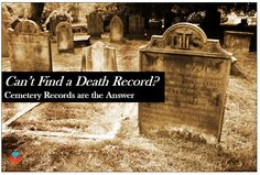 Finding a cemetery record is a great alternative when you can't locate the death record. Try these steps to find them! #genealogy #familyhistory