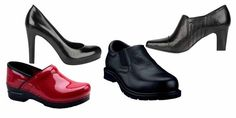 The best shoes for travel? Ask a flight attendant. Left to right: Dansko clog, Cicero by Franco Sarto, Skechers' Men's Work: Exalt-Closer, and Tanya Shooties by Franco Sarto