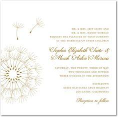 Foil Stamping Wedding Invitations Soaring Dandelion - Front : Gold Foil
