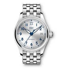 IWC Pilot Silver Dial Automatic Unisex Stainless Steel Watch ($3,960) ❤ liked on Polyvore featuring jewelry, watches, analog wrist watch, stainless steel jewelry, iwc schaffhausen, blue dial watches and blue jewelry