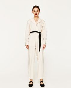 Image 1 of STUDIO JUMPSUIT WITH CONTRASTING BELT from Zara