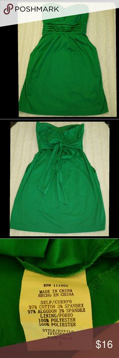 Strapless Dress with Pockets & Cinch Tie Back Gorgeous green and in great shape! Convenient & stylish side pockets & back cinch tie. Cotton/Spandex blend. Will need steaming or press upon arrival. Enjoy! Plz ask Q's ~ I love to have Happy Buyers! :) As U Wish Dresses Strapless