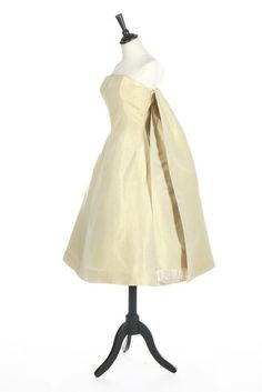 Givenchy Couture c1955-7. Shot chartreuse/ivory silk faille cocktail dress. (Kerry Taylor Auctions)