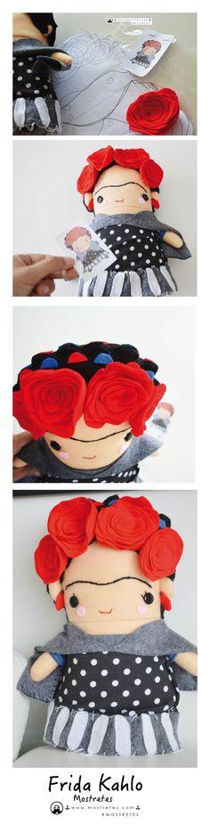 Frida, Frida Kahlo, hecho a mano en #mostretes ¡¡Creamos el personaje que desees!!. Plush Peluches Ecológicos, Sorprende con un  Regalo único y autentico. Facebook.com/mostretes www.mostretes.com
