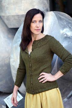 Ravelry: Gwenevere pattern by Jennifer Wood Crochet Cardigan, Sweater Cardigan, Jennifer Wood, Cardigan Design, Leaf Border, Stockinette, Knit Patterns, Shades Of Green, Lace Skirt