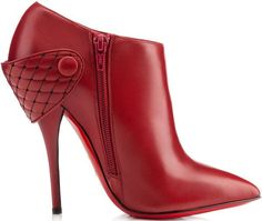 """Christian Louboutin """"Huguette"""" Leather Ankle Boots in Rogue Imperial"""