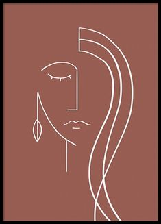 At Desenio, you'll always find posters and prints featuring the latest in interior design. Close Up Poster, Art Abstrait Ligne, Art Minimaliste, Art Visage, Dark Red Background, Abstract Face Art, Abstract Watercolor, Outline Art, Face Lines