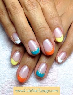 Colorful French Nails - Nail Art Gallery