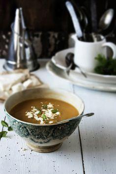 Snow Pea Soup with Mint & Feta