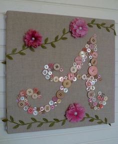 Letter design made from buttons - cute for a girl's room