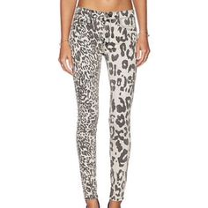 """Hudson Jeans Skinnies Leopard Print Hudson Nico Super Skinny Jeans Leopard Print in Off White & Grey. Midrise, size 25. Material: 92% cotton 6% poly 2% elastane. Inseam is approx. 29 1/2"""". Super fun animal print on these stretchy skinny jeans. Never worn, only tried on. I love them so much! I really want to keep them, I just have too many jeans! New with tags.  Laying flat, waist measures approx. 13 1/2"""" across. Hudson Jeans Jeans Skinny"""