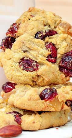Healthy, Gluten Free Almond Flour Cookies with dried cranberries and dried mango. Packed with protein and fiber.