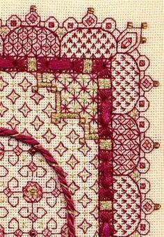 Two-Handed Stitcher: valentine with Kreinik