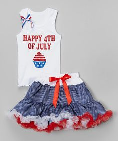Look at this So Girly & Twirly White '4th of July' Tank & Pettiskirt - Infant, Toddler & Girls on #zulily today!