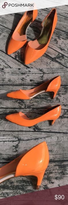 TED BAKER Pumps Heels 👠 Bright Orange TED BAKER Pumps / Heels 👠 Bright Orange, showstopper shoe, worn once. In great condition. I was not able to fully get the tags off the bottoms. One smudge on right shoe (see photo for details). Else like new. Upper, lining, and sock material is leather. European size 39.5 equivalent to US size 9.5. Price accounts for smudge and tags on sole. 💚 Bundles: 20% off 2 or more items 💚 Offers welcome Ted Baker Shoes Heels