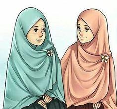 Pinterest: @çikolatadenizi Cute Couple Cartoon, Cartoon Pics, Girl Cartoon, Cartoon Art, Girl Hair Drawing, Hijab Drawing, Muslim Girls, Muslim Women, Islamic World
