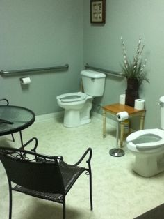"Pinterest Home Decor fail! An eating area, with group seating, in the bathroom???  ""So uh… How was your day?"""