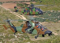 NHIndustries NH90 TTH (Tactical Transport Helicopter) Caïman & Eurocopter EC665 Tigre attack/close support helo of French Armée de Terre, in formation during integration training.