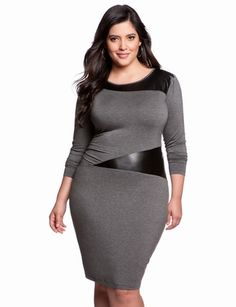 Leather Trim Knit Dress   Plus Size Date & Cocktail Dresses   eloquii by THE LIMITED